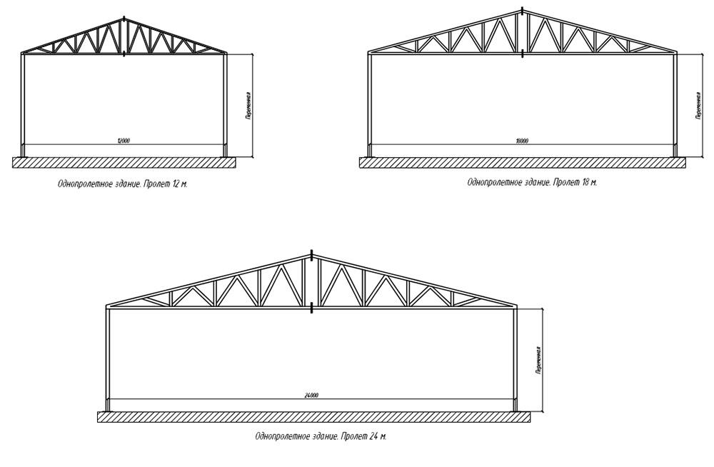 Схема однопролетных зданий шириной 12, 18, 24 метра